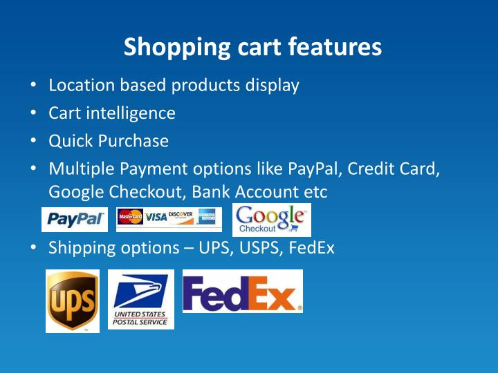 Shopping cart features