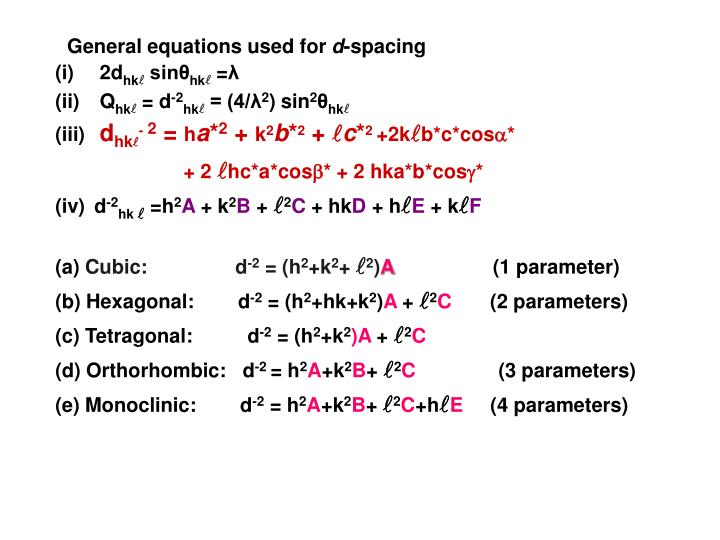 General equations used for