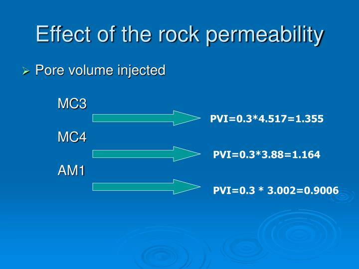 Effect of the rock permeability