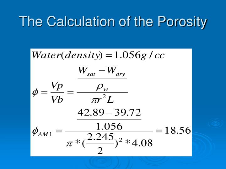 The Calculation of the Porosity