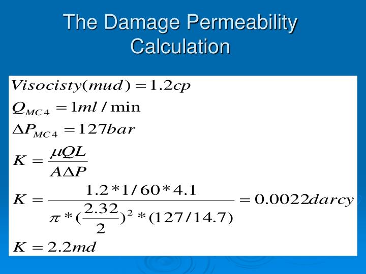 The Damage Permeability Calculation