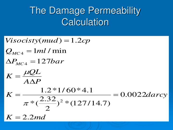 The Damage Permeability Calculation