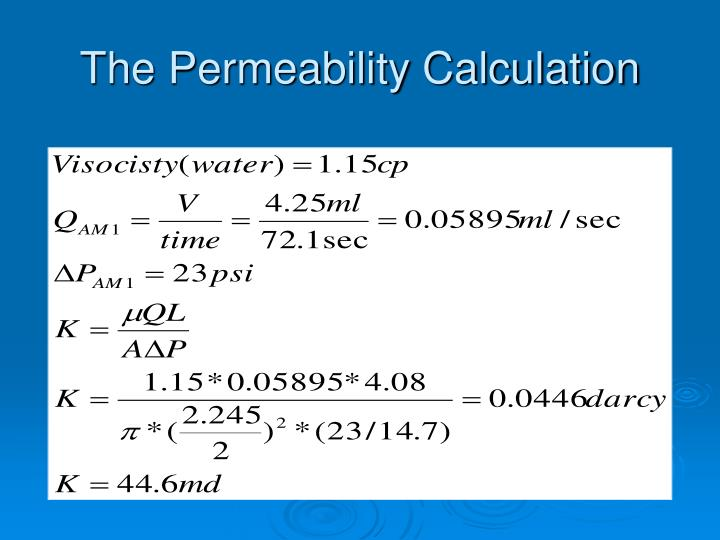 The Permeability Calculation