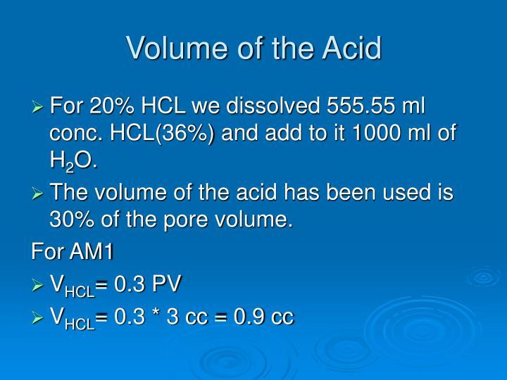 Volume of the Acid