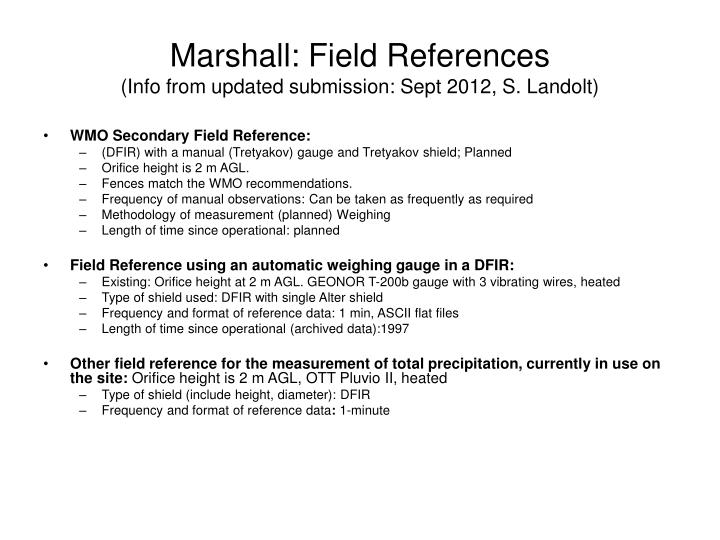 Marshall field references info from updated submission sept 2012 s landolt