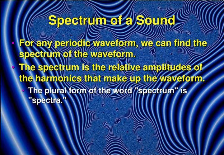 Spectrum of a Sound
