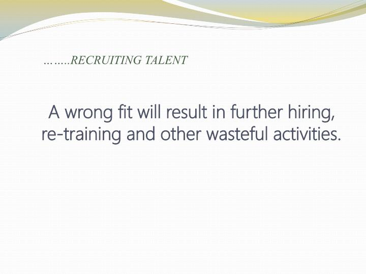 ……..RECRUITING TALENT