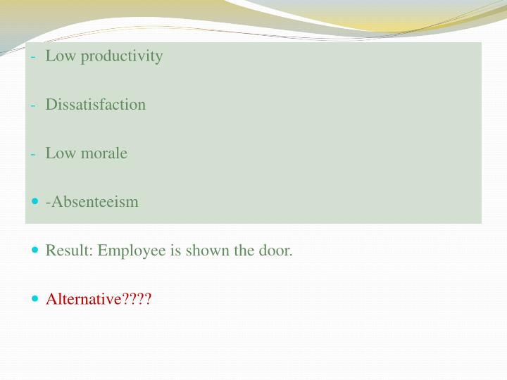 Low productivity