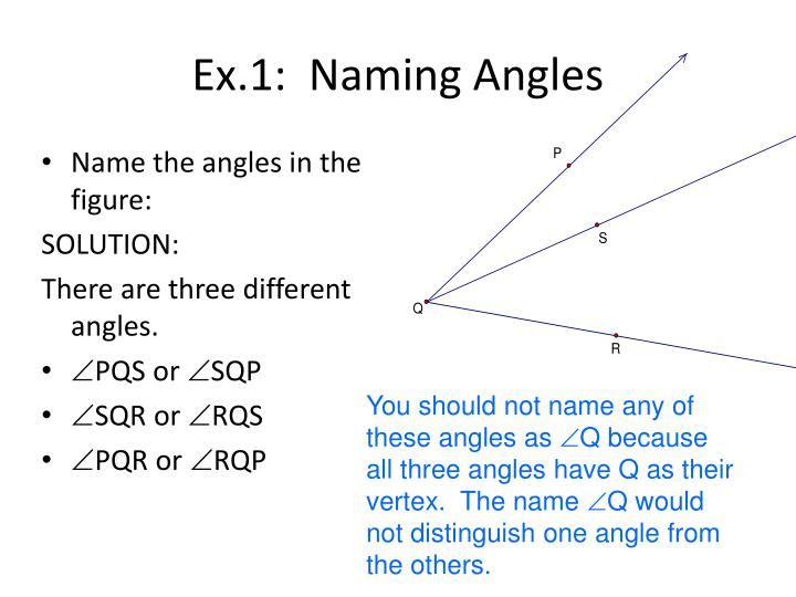 Ex.1:  Naming Angles