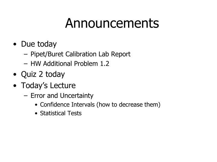 Announcements
