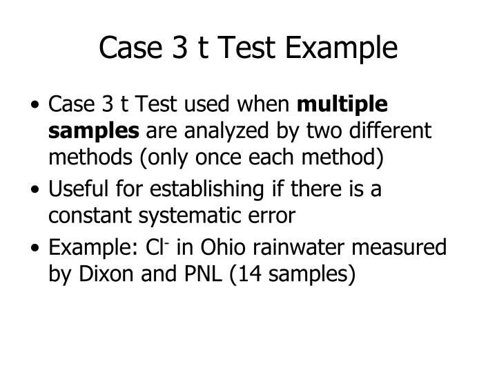 Case 3 t Test Example