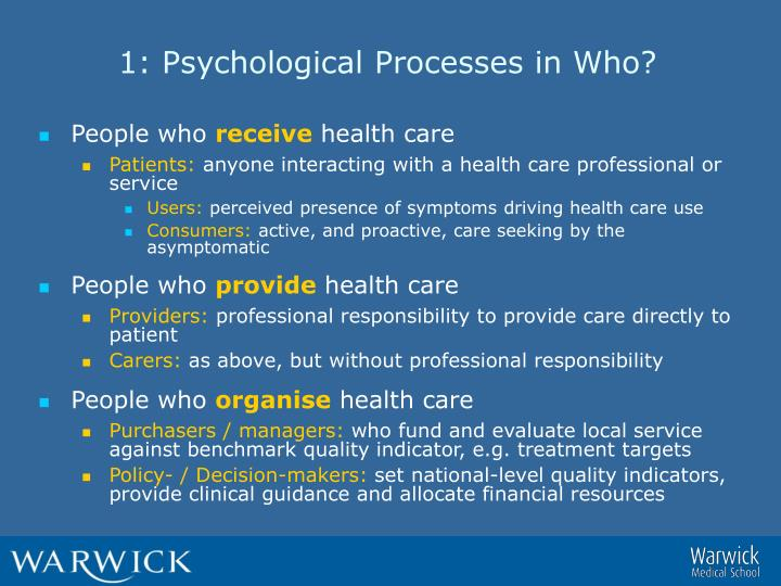 1: Psychological Processes in Who?