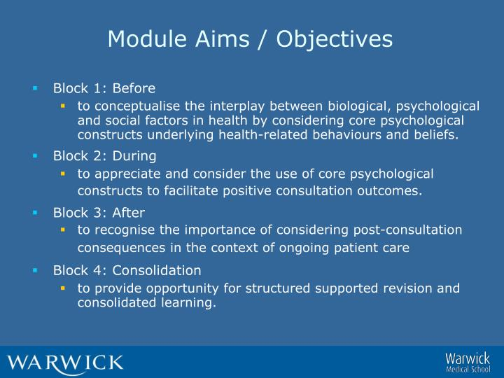 Module Aims / Objectives