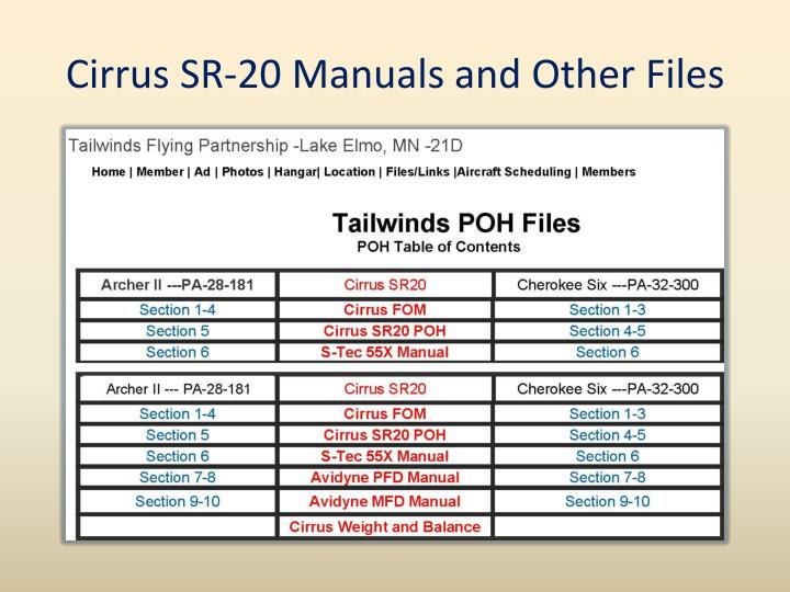 Cirrus SR-20 Manuals and Other Files
