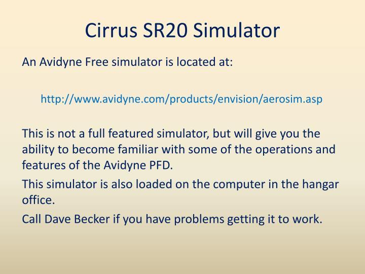 Cirrus SR20 Simulator