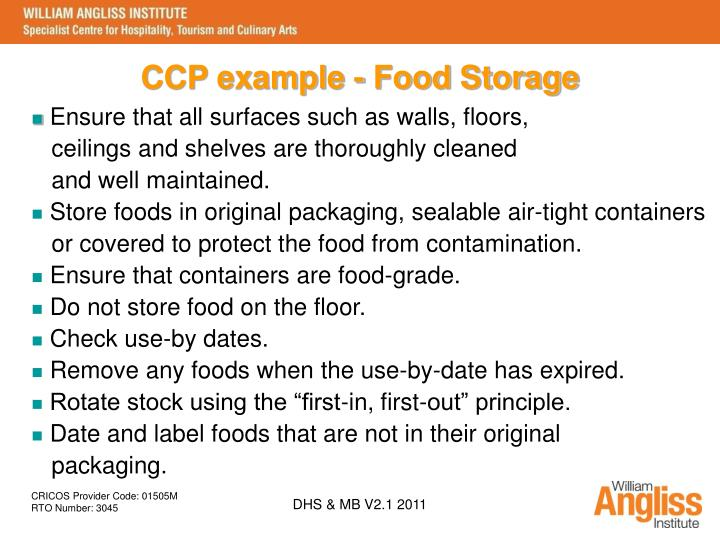 CCP example - Food Storage