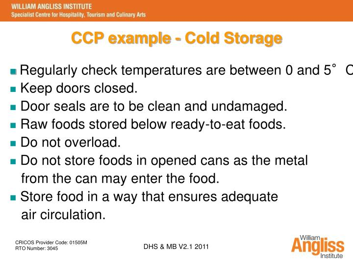 CCP example - Cold Storage