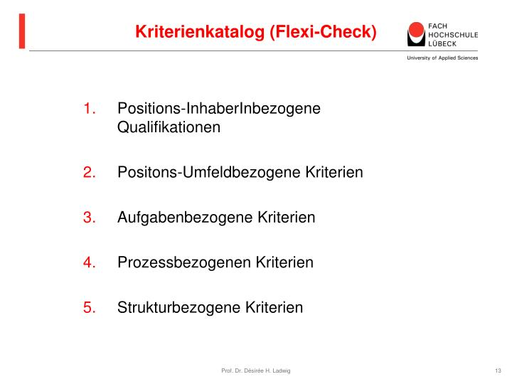 Kriterienkatalog (Flexi-Check)
