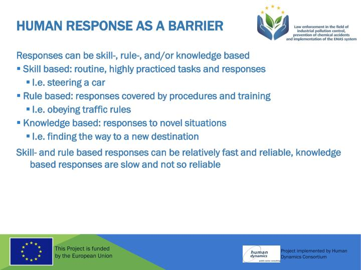 Human response as a barrier