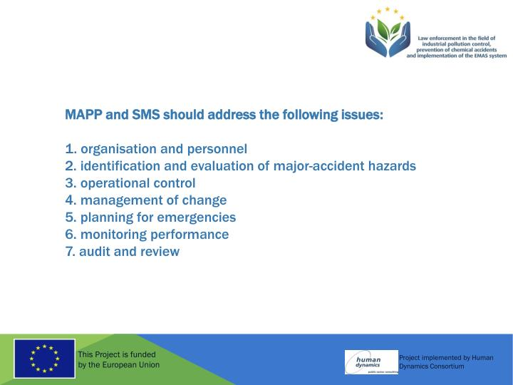 MAPP and SMS should address the following issues