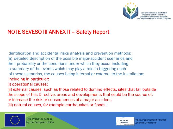 NOTE SEVESO III ANNEX II – Safety Report