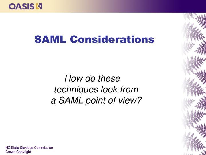 SAML Considerations