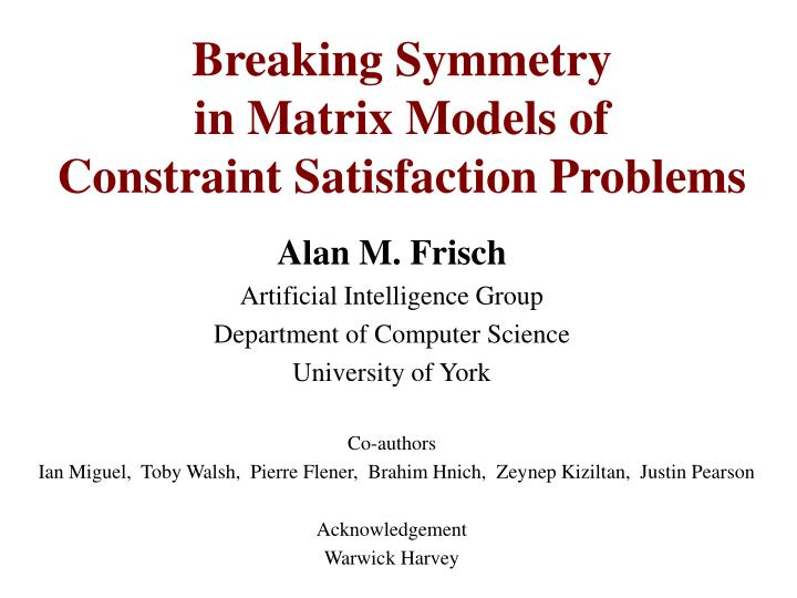 Breaking symmetry in matrix models of constraint satisfaction problems