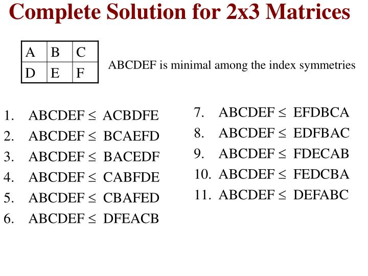 Complete Solution for 2x3 Matrices