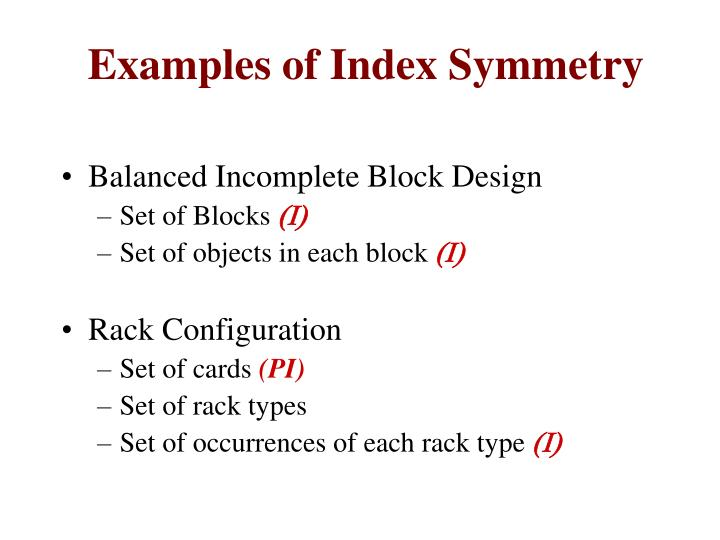 Examples of Index Symmetry