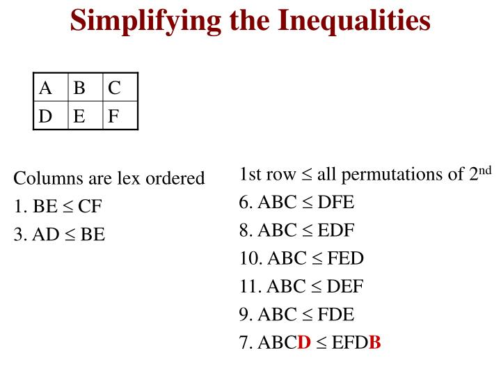 Simplifying the Inequalities