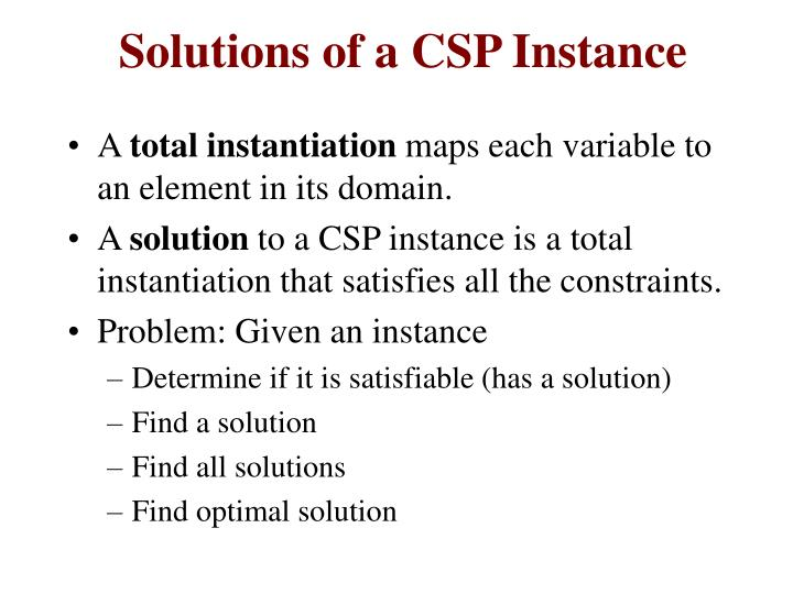 Solutions of a CSP Instance