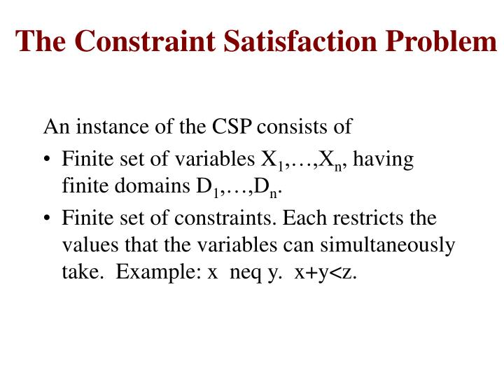The Constraint Satisfaction Problem