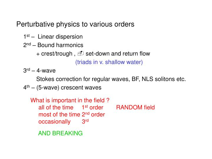 Perturbative physics to various orders