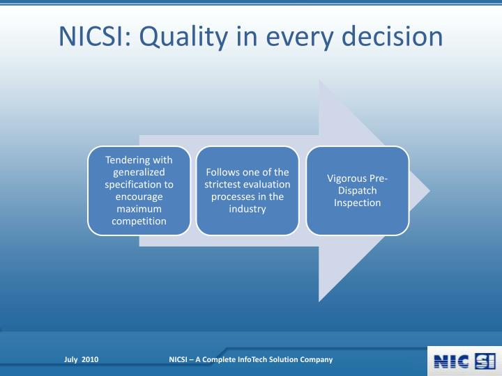 NICSI: Quality in every decision