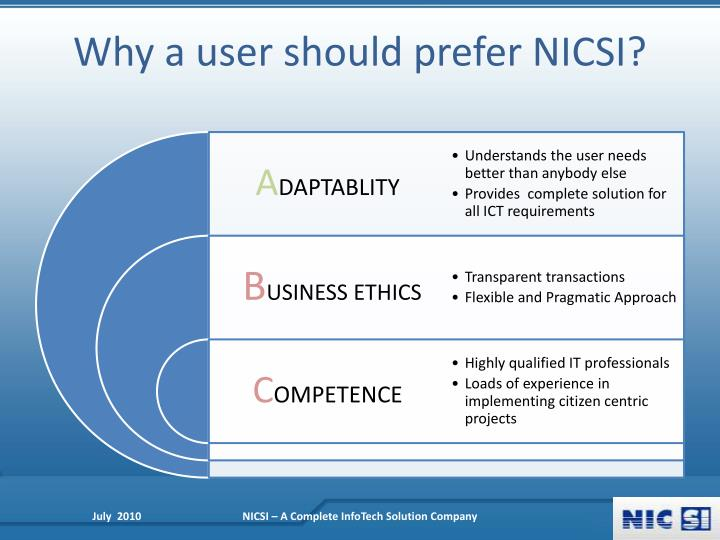 Why a user should prefer NICSI?