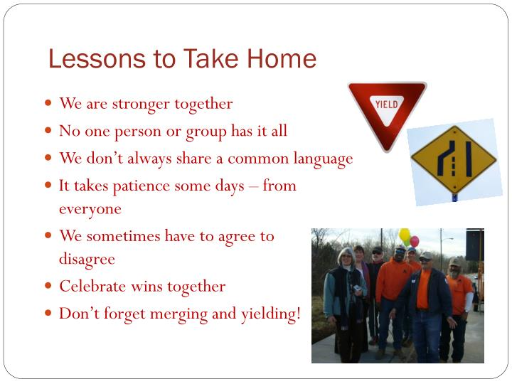 Lessons to Take Home