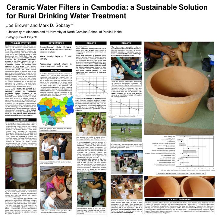Ceramic Water Filters in Cambodia: a Sustainable Solution for Rural Drinking Water Treatment