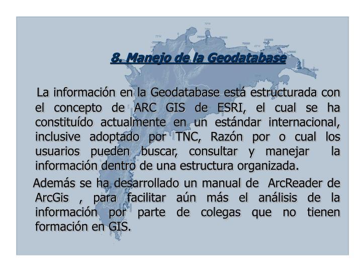 8. Manejo de la Geodatabase