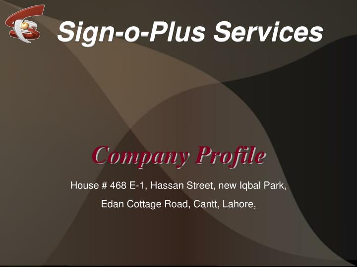 Sign-o-Plus Services