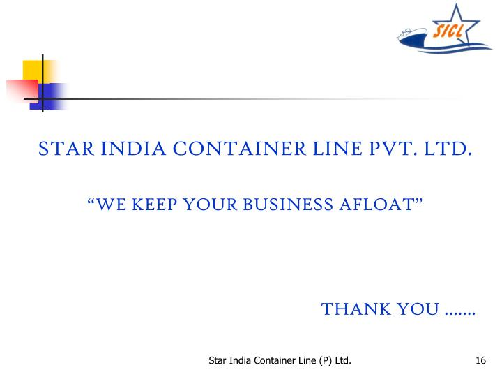 STAR INDIA CONTAINER LINE PVT. LTD.