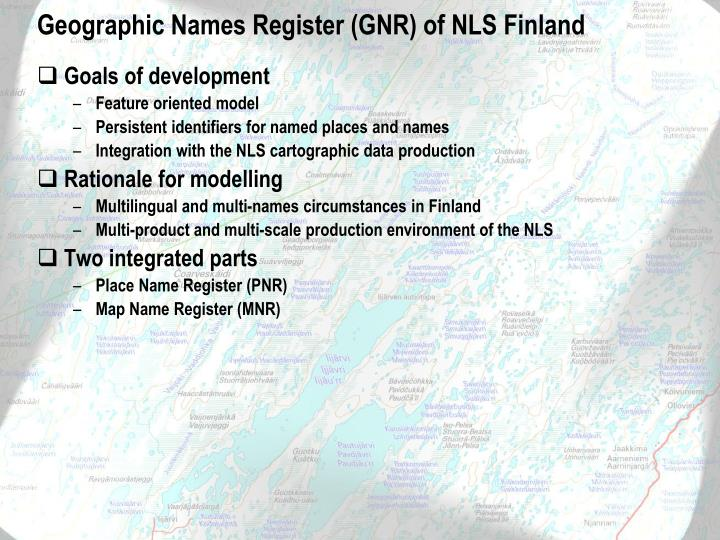 Geographic Names Register (GNR) of NLS Finland