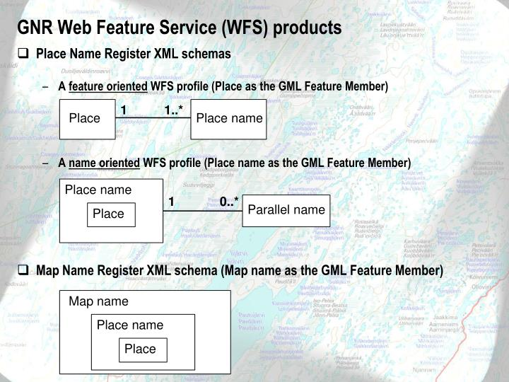 GNR Web Feature Service (WFS) products