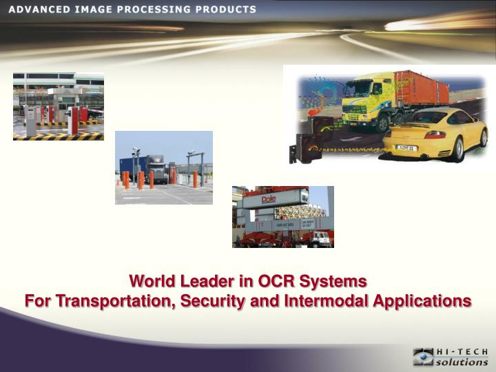 World Leader in OCR Systems