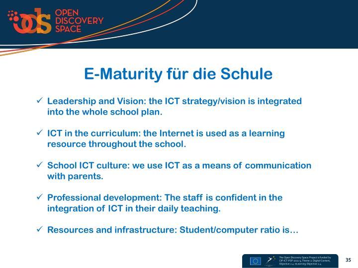 E-Maturity für die Schule