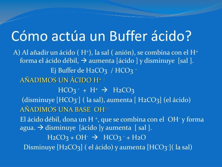 Cómo actúa un Buffer ácido?
