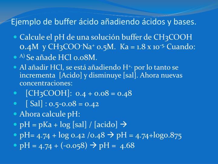 Ejemplo de buffer ácido añadiendo ácidos y bases.