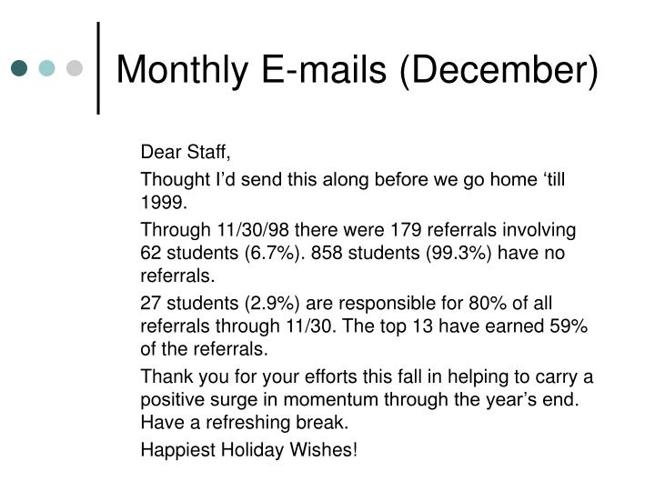 Monthly E-mails (December)