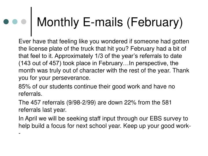 Monthly E-mails (February)