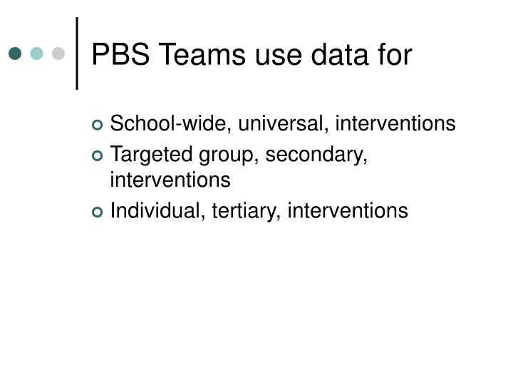PBS Teams use data for
