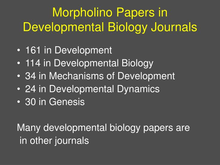 Morpholino Papers in Developmental Biology Journals